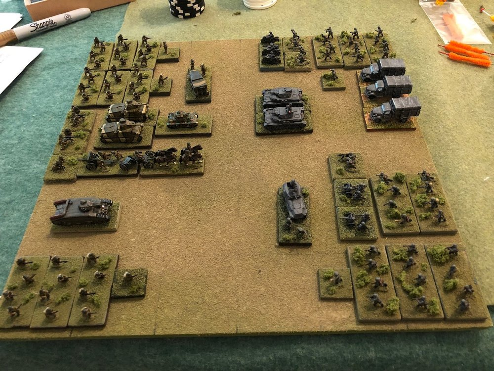 The opposing forces, with Germans on right and French on left.  Each side will begin the game with a main force on the table, then each side will receive two separate sets of reinforcements as the game goes on.