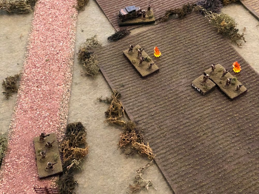 There's a lull in the fire and finally the French officers are able to get the platoon back up to fighting trim, all three rifle squads rallied.