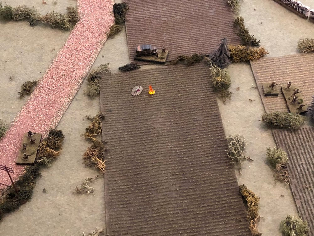 In the south, the French 1st Platoon is scattered and taking casualties.  Rather than sit and wait, the platoon commander grabs 1st Squad and pushes them forward (far right), as Capitan Cognac (top center) and 3rd Squad (far left) look on.