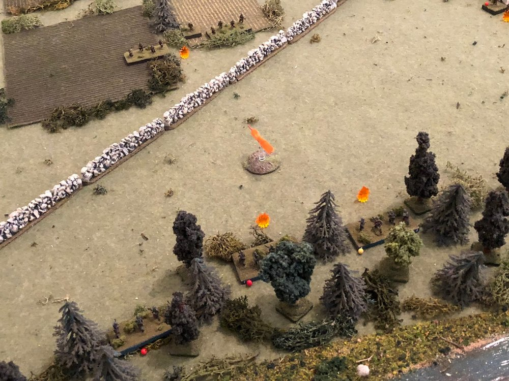 n the south, SSgt Sachs' 1st Squad returns fire (right) on the French 1st Platoon...