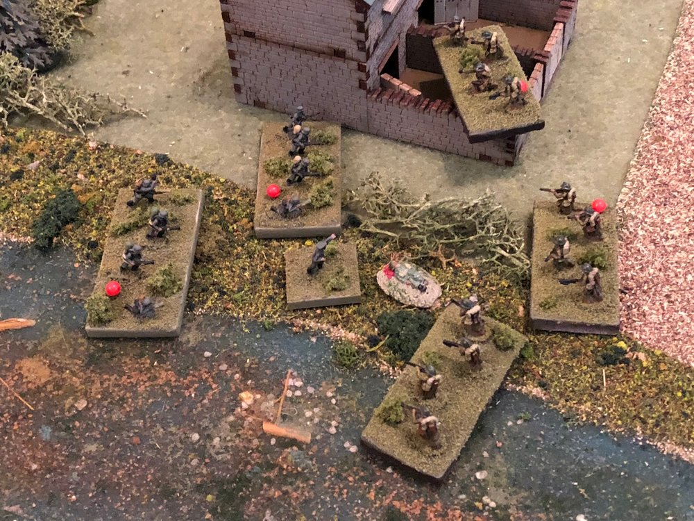 Both German squads rebuke their attackers in the first rush, and the French Lieutenant falls in the center of the scrum!