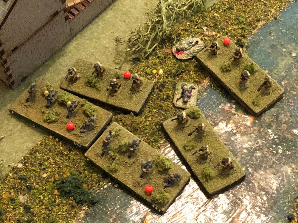 The Germans rush headlong to meet them, straightening their line...