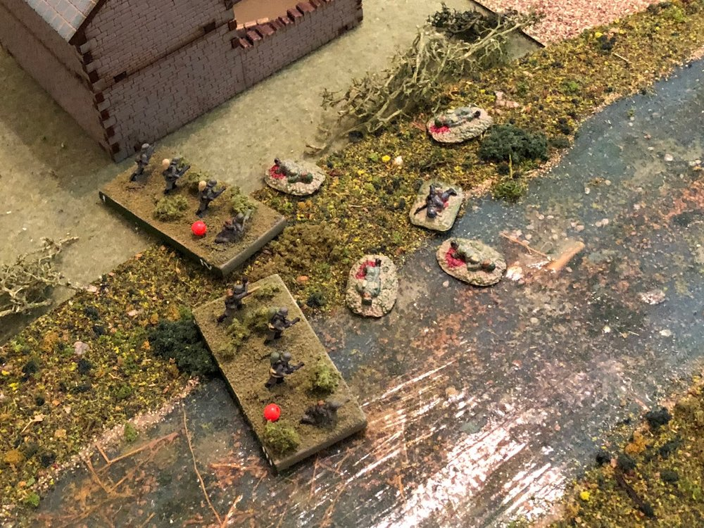 But then suddenly it is quiet but for the agonized moans of the wounded, the Germans have stood, wiping out the entire French 2nd Platoon in close combat!!!