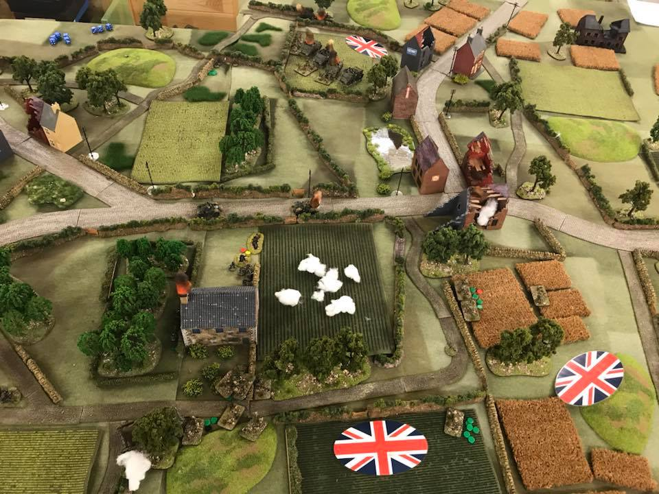 The view from upon high. The Canadians attacked right to left towards the farmhouse in the centre, driving 6-7ft in on a 12ft table.