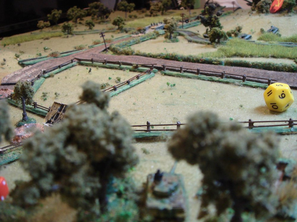 Another view from the hill. Just visible are the Soviet infantry crossing the bridge and another Blind appearing on the hill opposite. The Germans hold their fire.