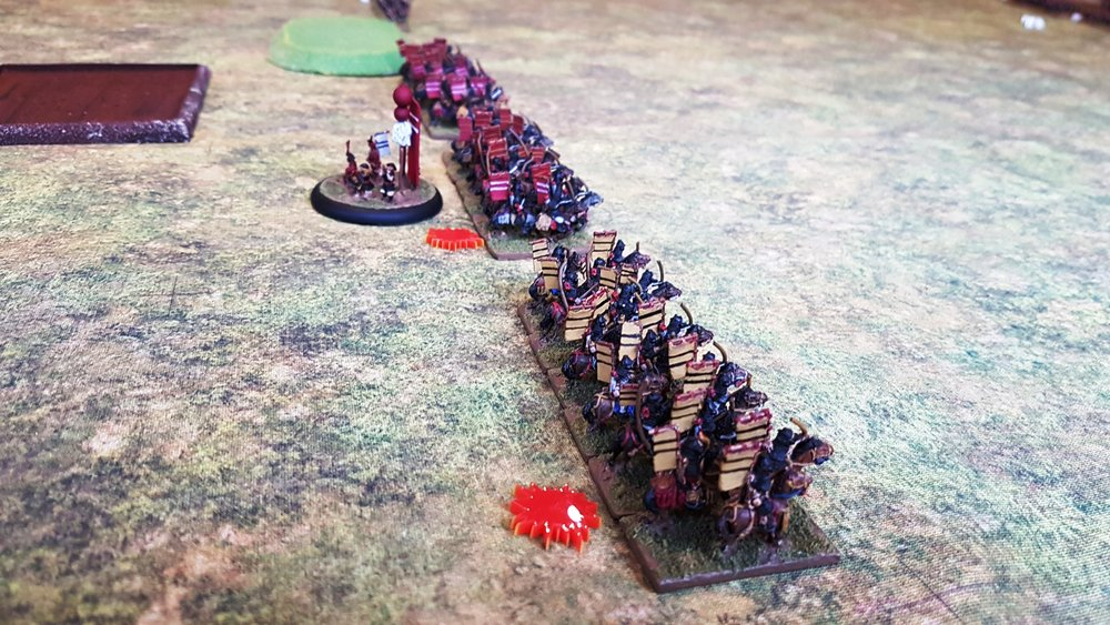 Mounted Samurai from the Soft-top Box Clan (the red markers are Heroes)