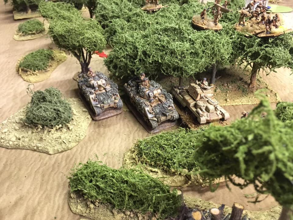 The other British Sherman troop emerges from the vast array of olive groves that covered the hillside below the olive oil factory.