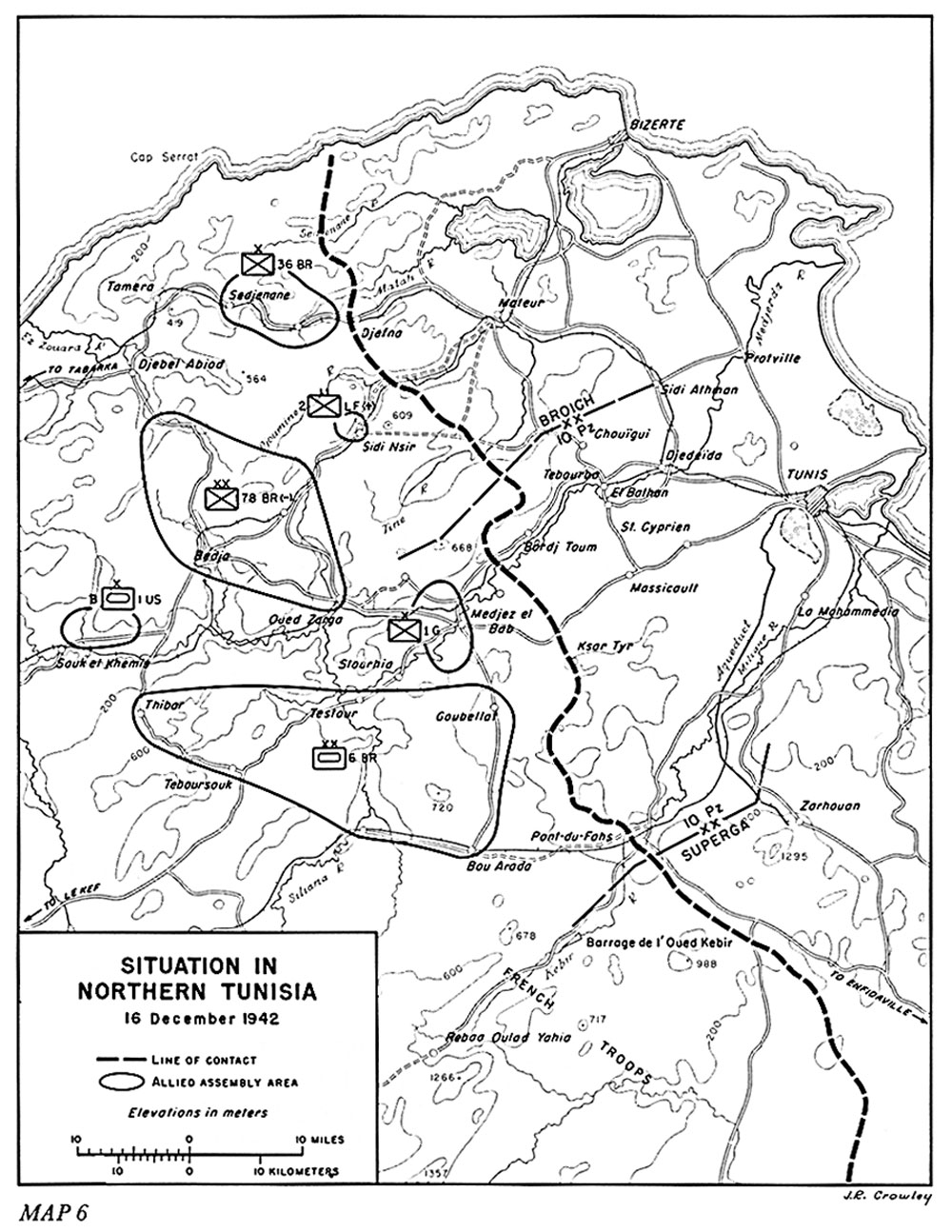Map showing the campaign area and front in 1942 with allied forced centred around Medjez al Bab and the Medjerda Valley