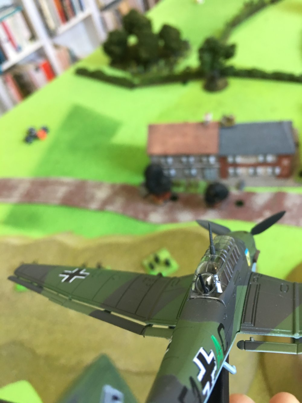 A Stuka divebomber attacking the British position