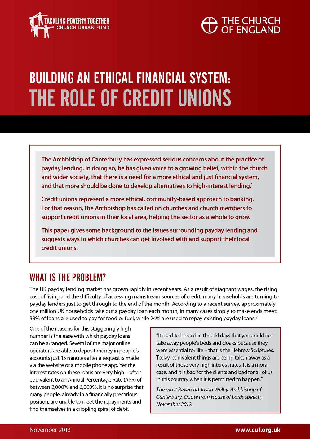 Building an ethical financial system: The role of Credit Unions Church Urban Fund Download PDF (168kb)