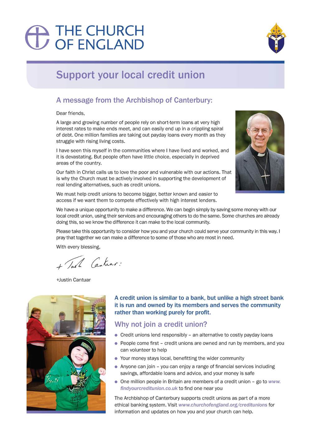 Archbishop Justin encourages churches to support their local Credit Unions - A4 Poster PDF  |  Word