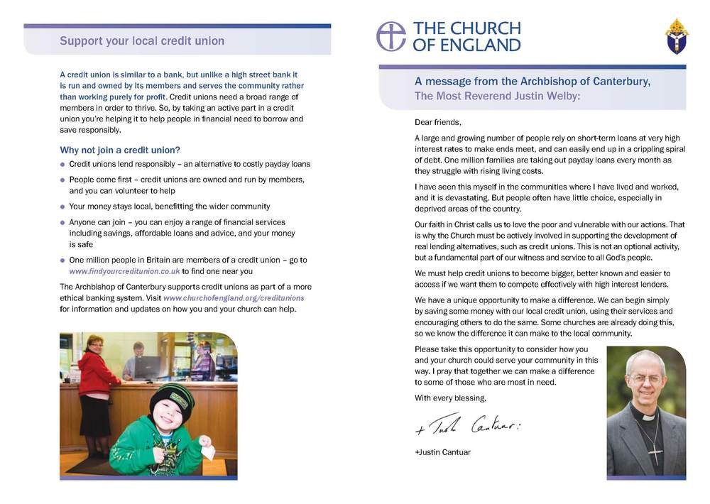 Archbishop Justin encourages churches to support their local Credit Unions - A5 Leaflet PDF