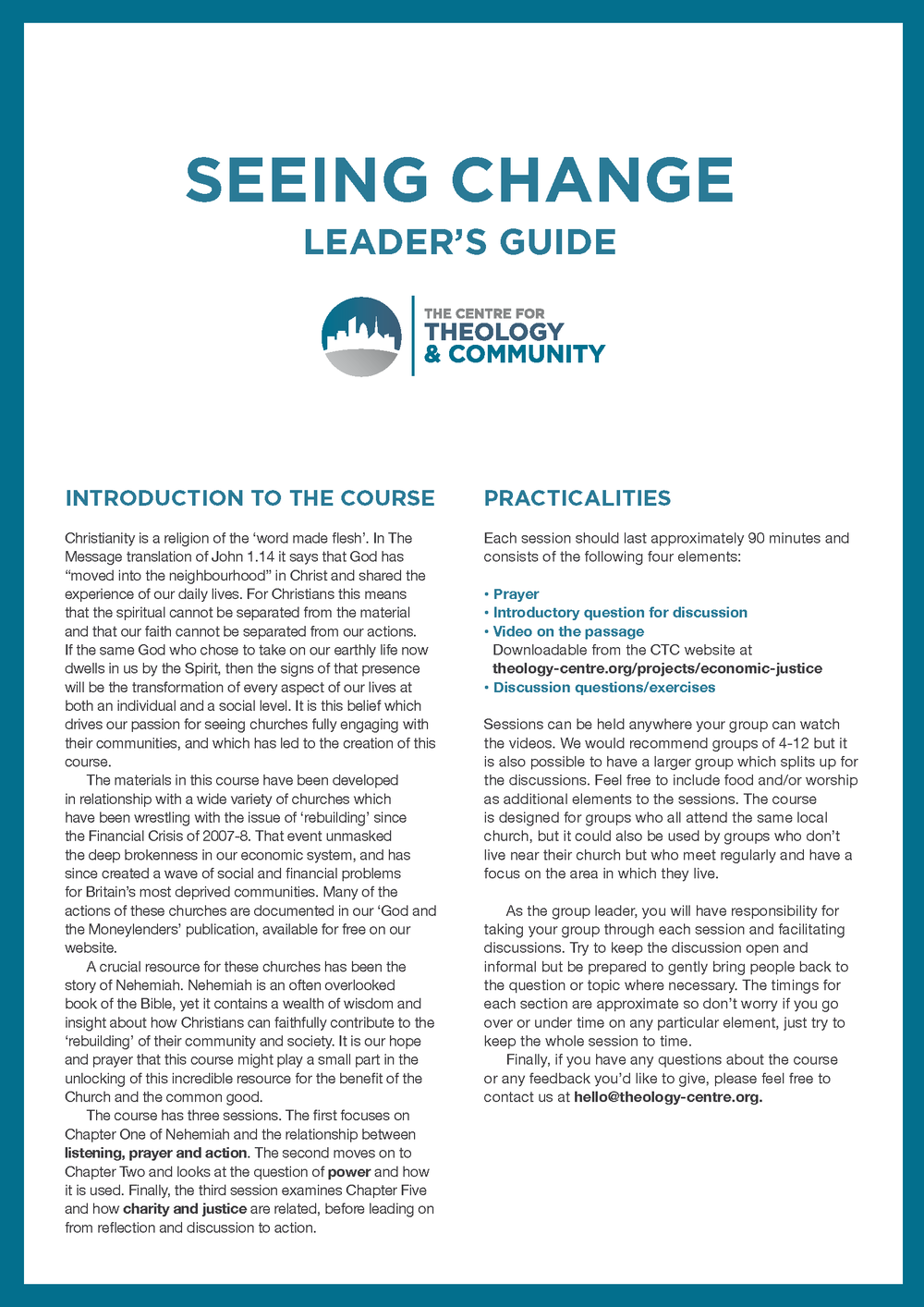 Seeing Change Course - Leader's  Guide (See  videos below)  Download PDF