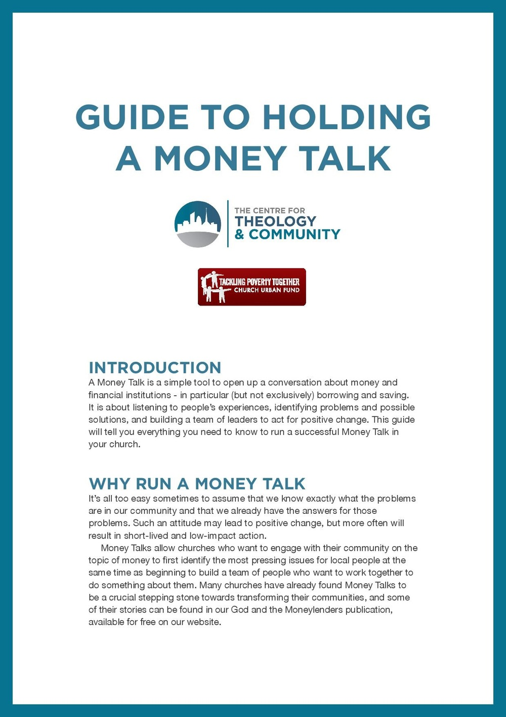 Guide to  helping your church talk about money and its impact on people Download PDF