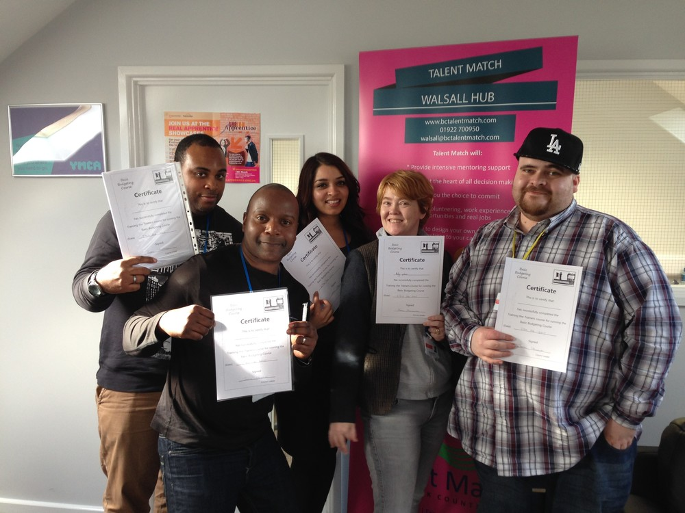 Young people from Walsall based charity Talent Match who completed the basic budgeting course