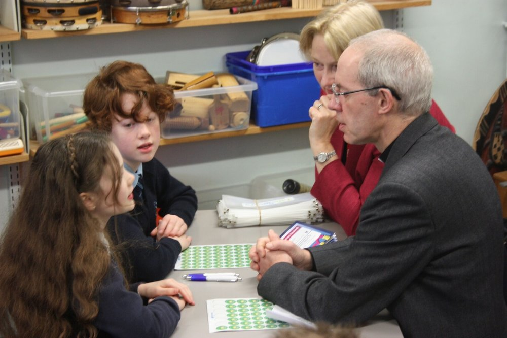 Archbishop Justin Welby meets young savers at St Bartholomew's Church of England Primary School,  South London Read the Archbishop's blog of his visit