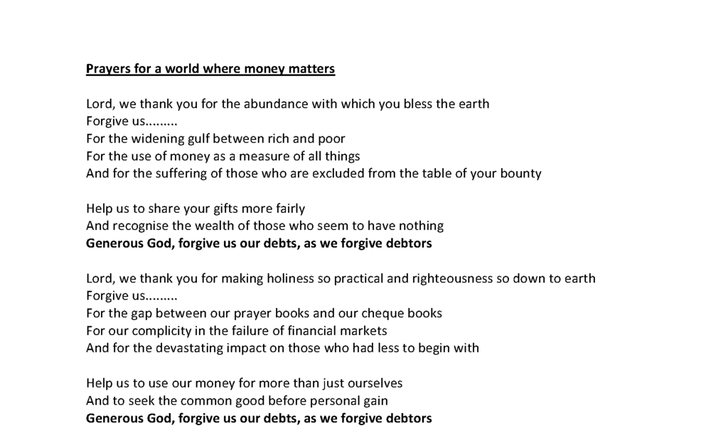 Prayers for a world where money matters Download PDF (32kb)
