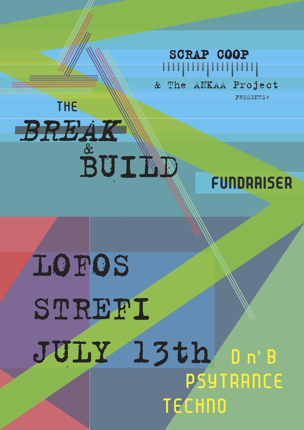 Scrap Coop // Break & Build Fundraising Party Poster // 2018