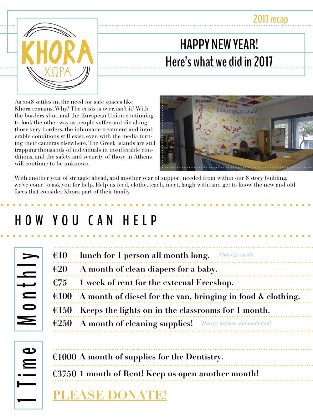 Khora Community Centre // End of Year Newsletter // 2017