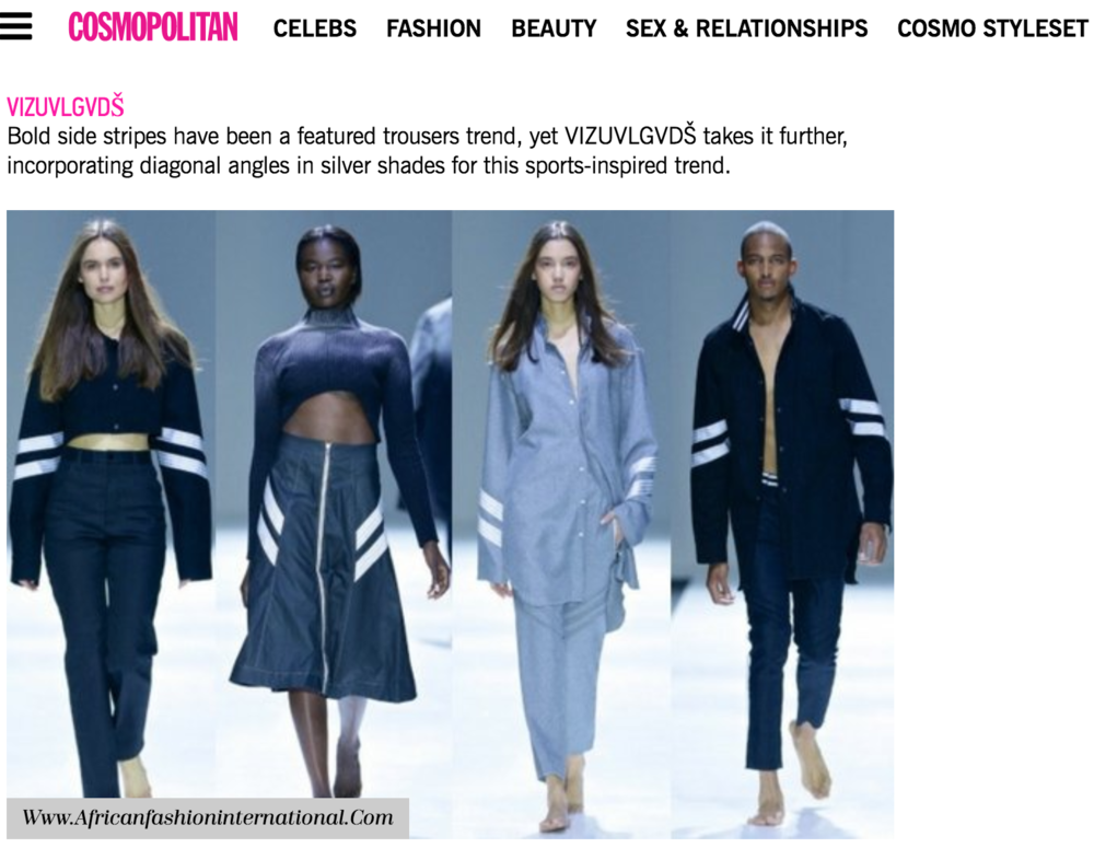 COSMOPOLITAN SA featuring VIZUVLGVDS SS18 READY TO WEAR COLLECTION AT THE MERCEDES BENZ 2017 FASHION WEEK JOHANNESBURG  -