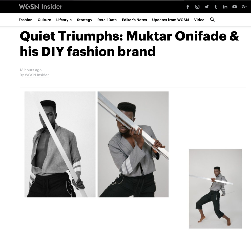 American born Nigerian Muktar Onifade, a self-taught creative director and seamster with a degree in Mechanical Engineering, is one of those rising designers. Four years ago, from his bedroom in Detroit and while working as a calibration specialist for GM, he decided to create a high-end brand called VIZUVLGVDŠ (Visual Gods). -