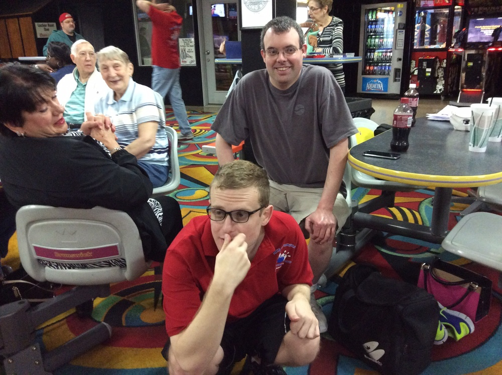 Greg and Trevor at bowling