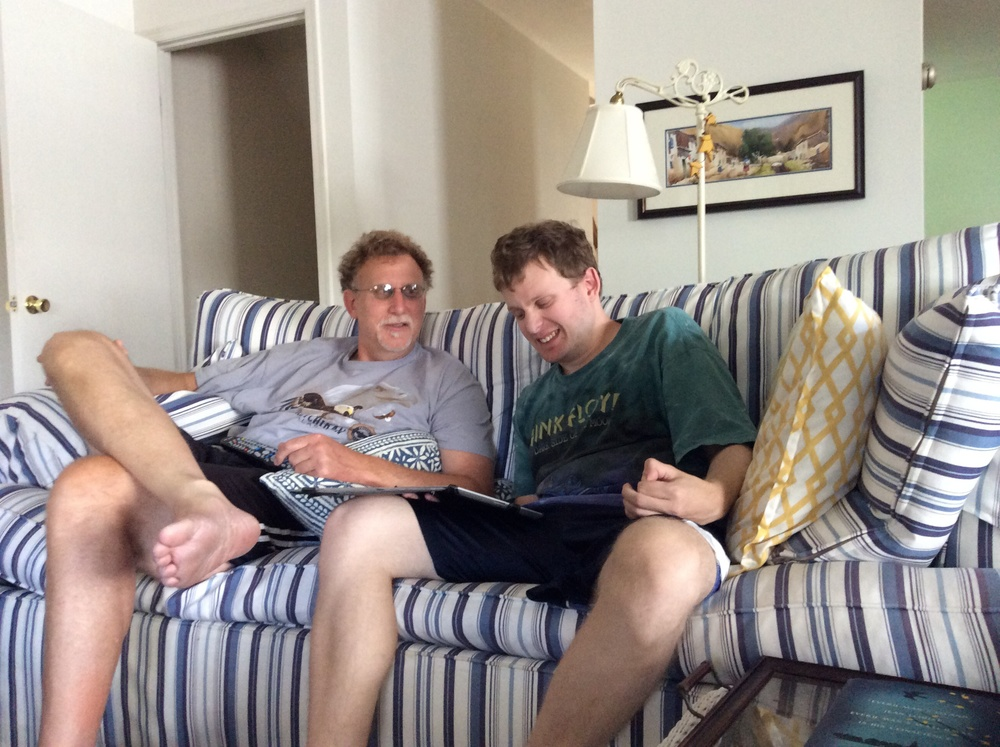 Greg and Jay relax during a quiet Sunday family moment.