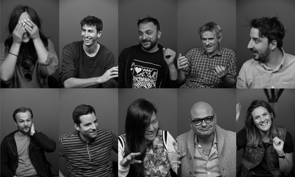 Top row: Sam Hall (Notch Video), Jesse Hornstein Goldberg (Anomaly), Matthew Swanson (Sons & Daughters), Ron McDonald (Anomaly), Mathieu Belley (Lowe) Bottom row: Daenen Bramberger (Apollo Studios), Paul Constantakis (Director/Freelance Copywriter), Gail Pak, Lowe, Martin Beauvais (Open), Kate Thorneloe (Anomaly)