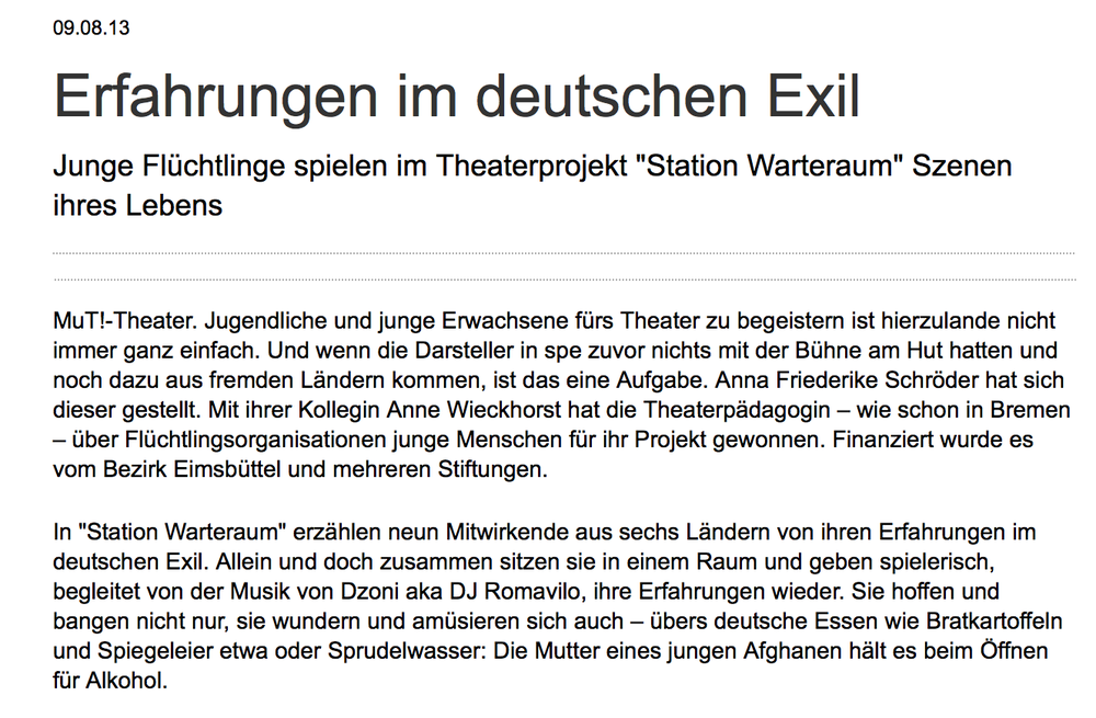 zum Artikel: http://www.abendblatt.de/kultur-live/article118842021/Erfahrungen-im-deutschen-Exil.html
