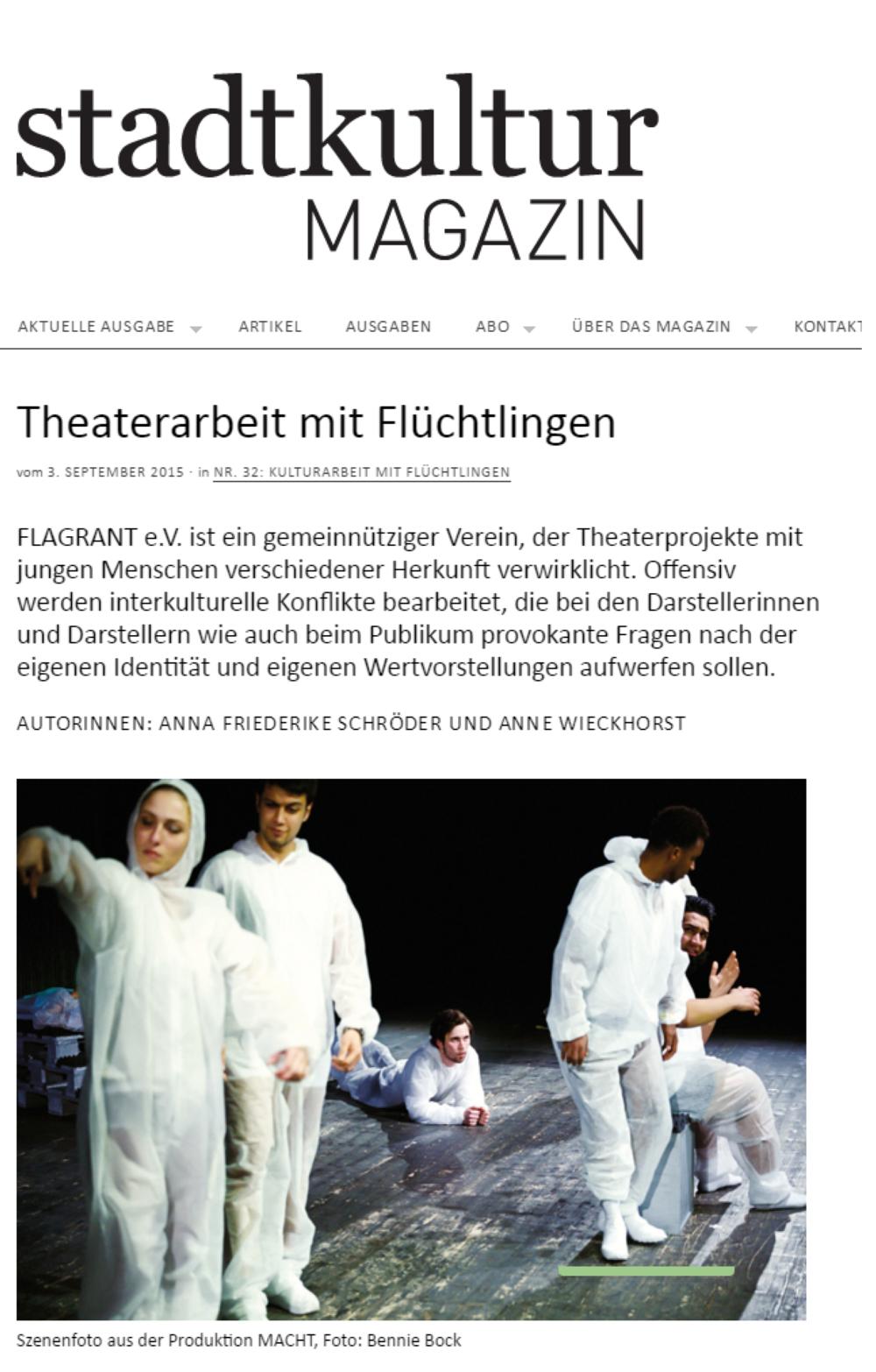 Z um Artikel: http://www.stadtkulturmagazin.de/2015/09/theaterarbeit-mit-fluechtlingen/