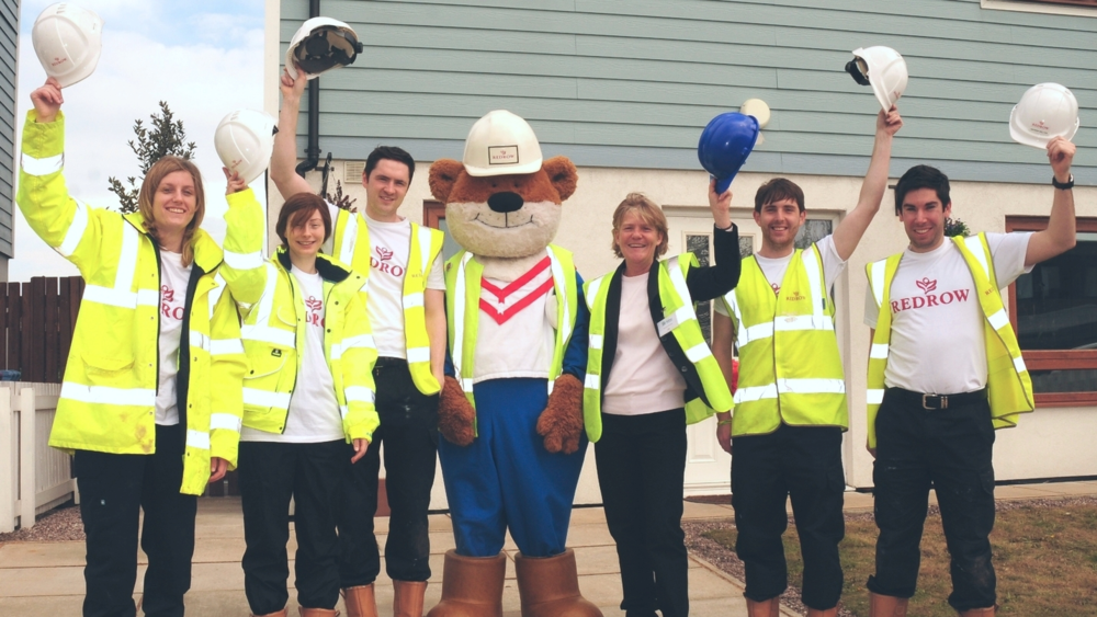 Redrow Homes team and mascot