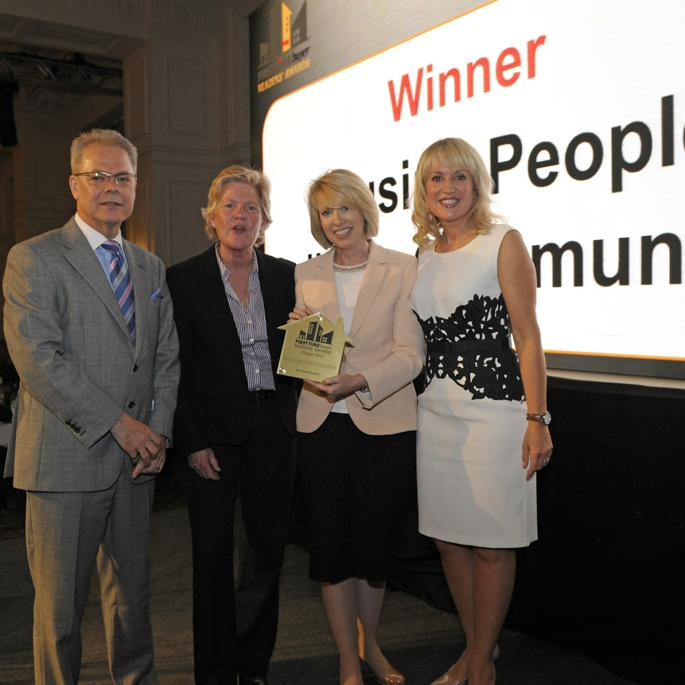 Pictured at the FTB Readers' Awards, l-r: Stephen Harker, of category sponsor Dawson Cornwell, HPBC chief executive Liza Parry, Sanctuary Group public relations manager Lindsay Evans and TV presenter & host Nicki Chapman.