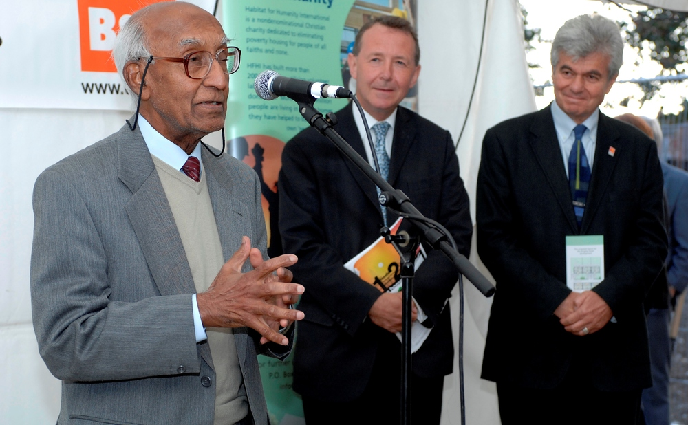 Our original patrons (L-R): Akbar Ali MBE (deceased), Lord David Alton and Councillor Gideon Ben Tovim at our first key handover event in 2007