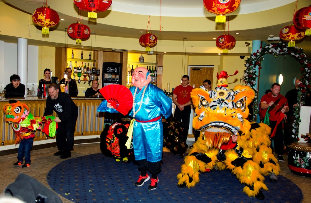 Guests at the Chung Ku were entertained by traditional Chinese lion dancing.