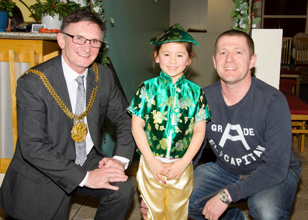 Liverpool's Lord Mayor Cllr Tony Concepcion meets tiny Chinese dancer Lily.