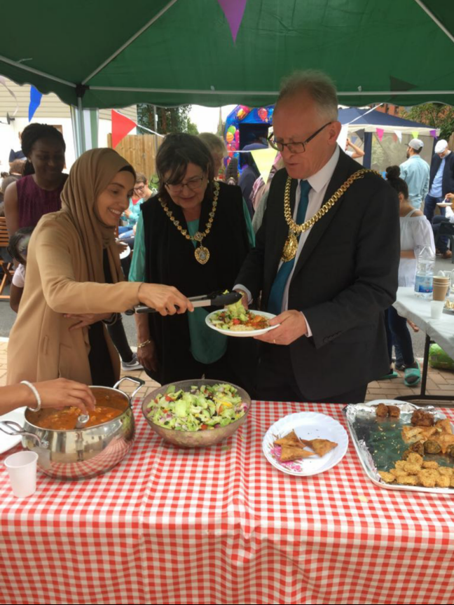 Amel Mohamed with the Lord Mayor and Lady Mayoress