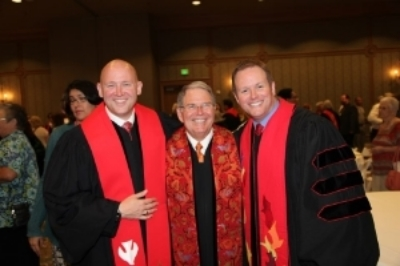 Rev. Collin Taylor (left), pictured at his ordination with his father, Rev. Bill Taylor and brother Rev. Dr. Dawson Taylor