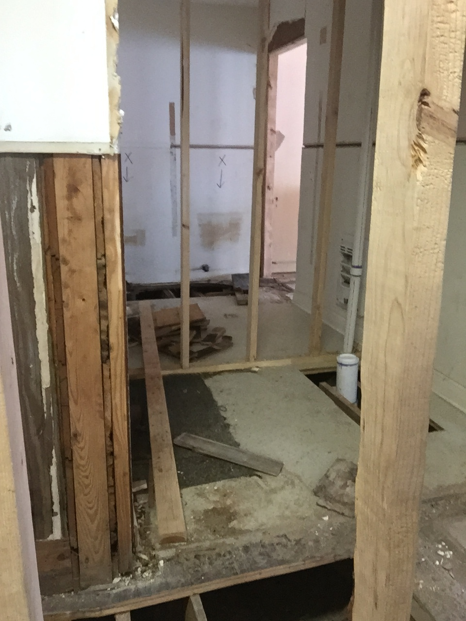 A peek into one of our new bathrooms.  You can see all new plumbing in the floor and a laundry in the background.