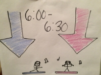 This drawing tells them that: A) It's between 6:00 and 6:30 AM and B) that I am downstairs working out!