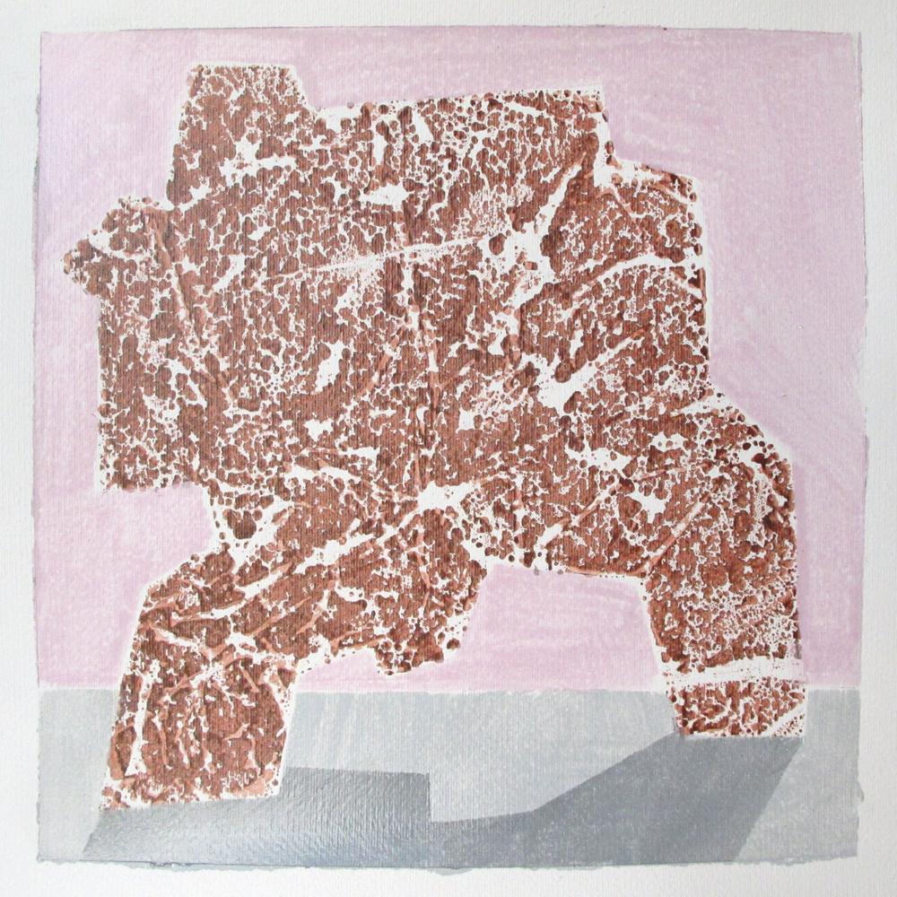 "Serien ""Frukt og robot""  2011. 40 x 40, Gummitempera på papir"
