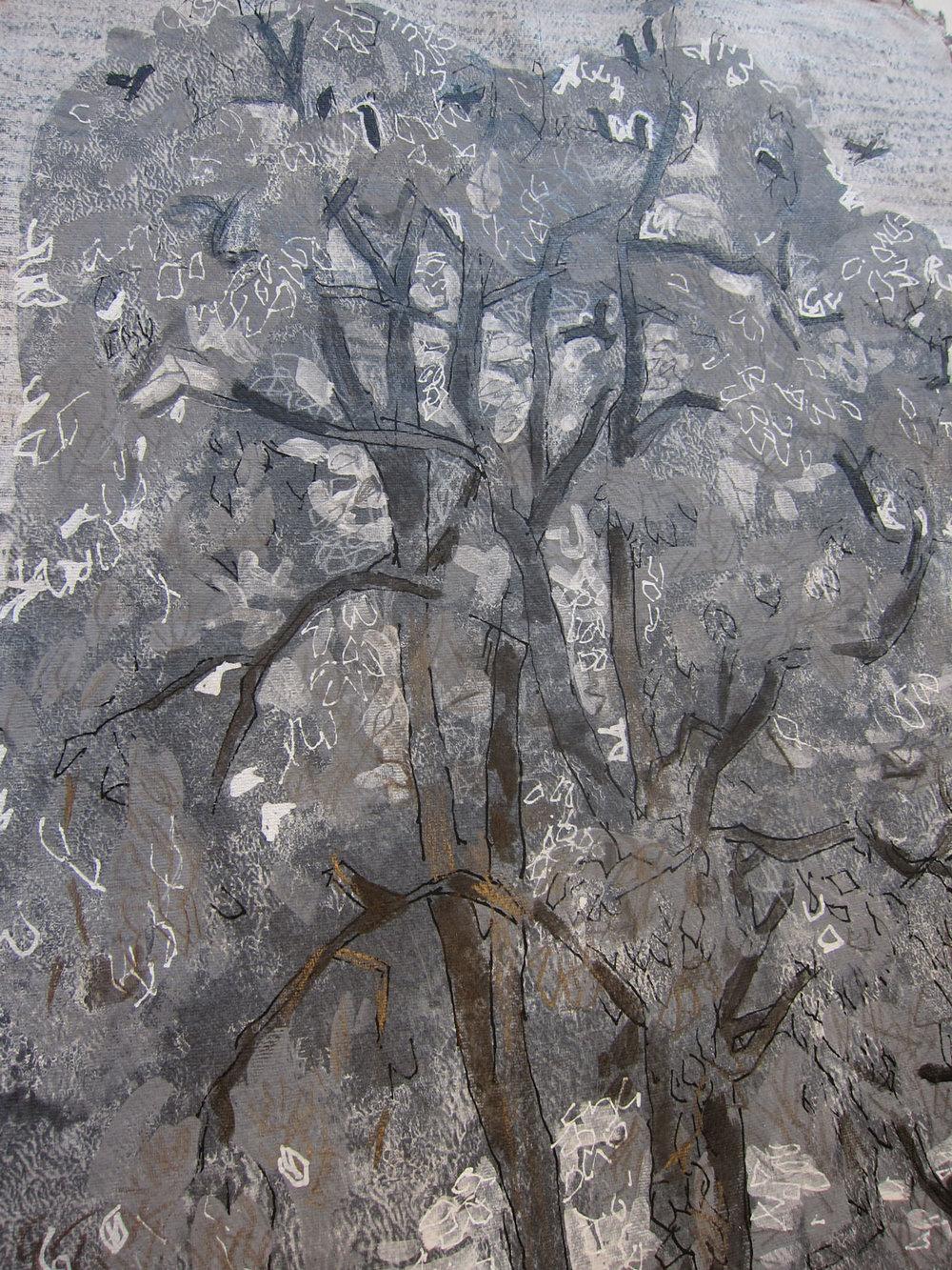 Treportrett. Tre med kajer. 70 x 50 cm. Tusj og bladmetall