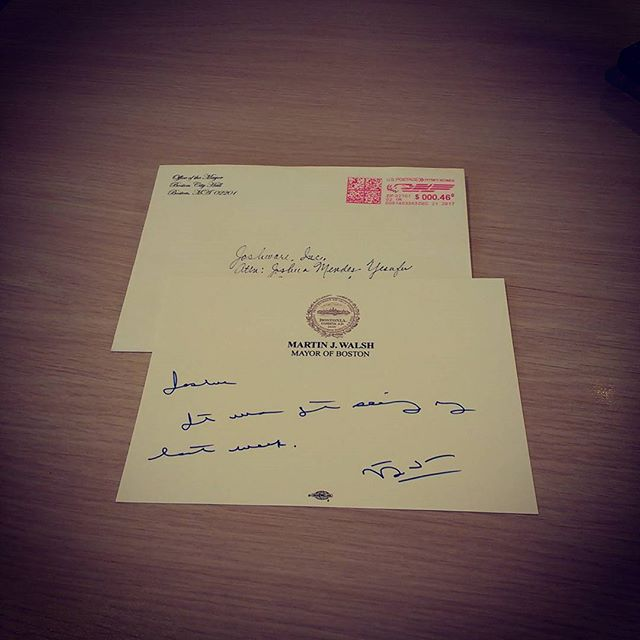 Mayor Martin J. Walsh's snail mail penmanship feels like a symbolic sign of the digitization opportunities in the city of Boston & beyond. Nonetheless we are grateful! #ConsultWithUs 😁🐌📱📶🌐📧