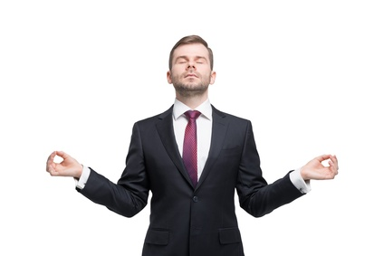 """Meditative young businessman"". Fotolia-Datei: #81073985 | Urheber: denisismagilov"