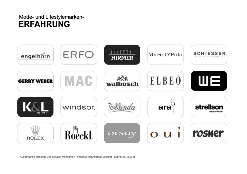 Aktuell oder früher betreute Fashion- und Lifestyle-Brands; im Auftrag von Agenturen oder als Direktmandat.