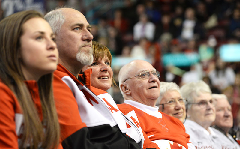 Proud Family looks on as City honours their sons, grandsons and brother, blind apline skiier, and this brother and guide, after accomplishing silver and 2 bronze finishes at the Paralymic  games in Sochi 2014.