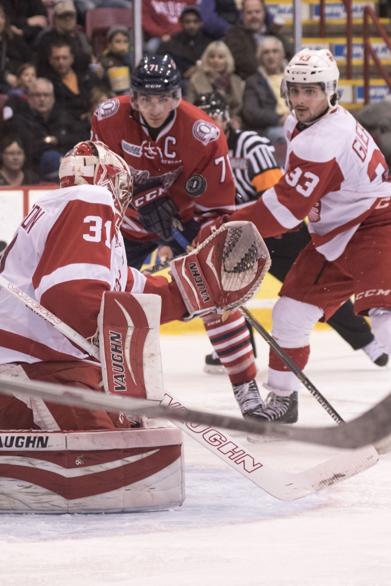 Ali Pearson/ Sault This Week  Greyhound goalie Brandon Halverson makes a close-in save against Oshawa.
