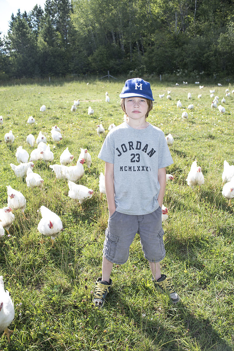 Happy Chickens:  Aidan Lemieux, 9, shares the living conditions for the Valley Field Farm free range meat chickens, Friday August, 21, 2015.  Chickens permitted to free range forage for insects and eat leftover crops while at the same time fertilizing the soil. This creates a symbiotic relationship between the animals and the land.
