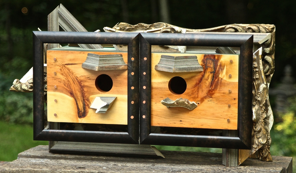"it's always fun naming the different bird houses. This one we will call simply ""framed"""