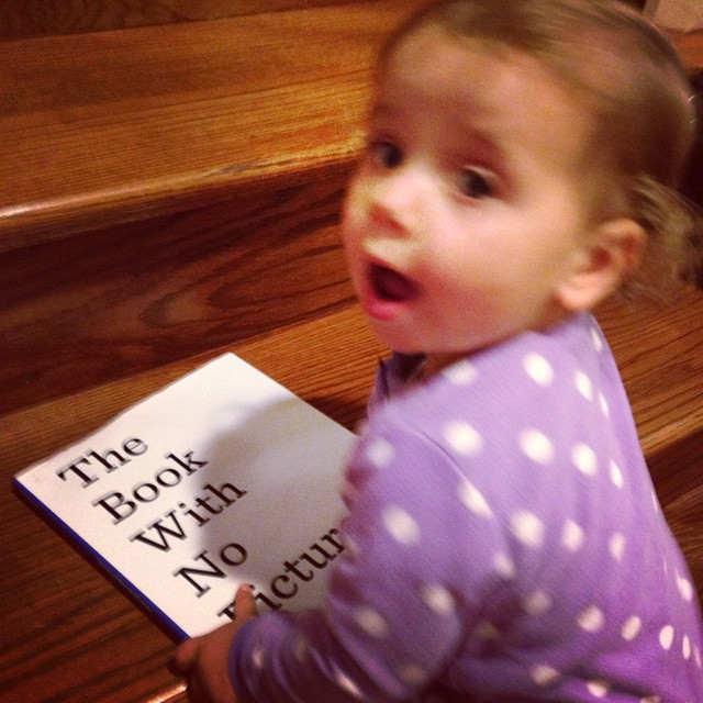 Hey @picturesoftext…check out your newest devoted reader. #thisbookhasnopictures #carolinereads #lamprophonic