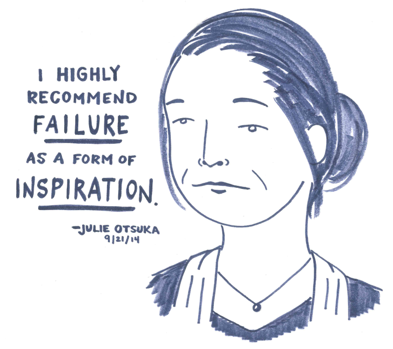 lastnightsreading :     Julie Otsuka at the Brooklyn Book Festival, 9/21/14     True, not to mention a tad depressing.